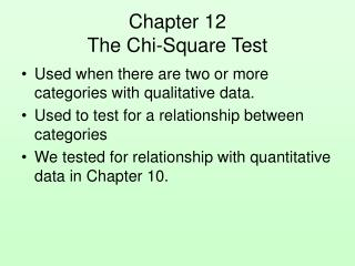 Chapter 12 The Chi-Square Test