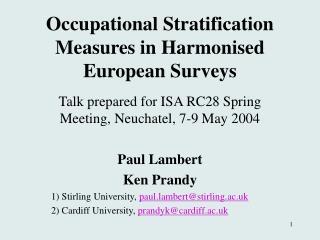 Occupational Stratification Measures in Harmonised European Surveys