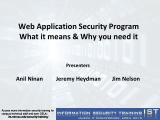 Web Application Security Program What it means  Why you need it
