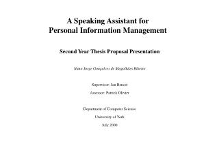 A Speaking Assistant for Personal Information Management