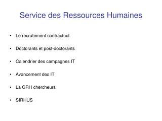 Service des Ressources Humaines