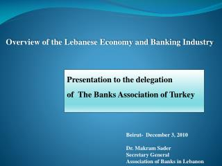 Overview of the Lebanese Economy and Banking Industry