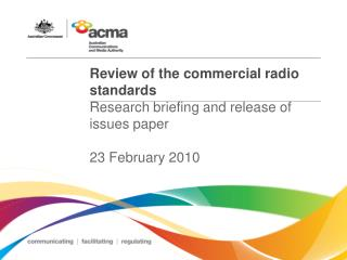 Review of the commercial radio standards