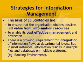 Strategies for Information Management