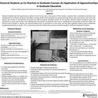 Doctoral Students as Co-Teachers in Graduate Courses: An Application of Apprenticeships in Graduate Education