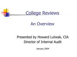 College Reviews  An Overview