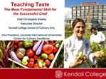 Teaching Taste The Most Fundamental Skill for the Successful Chef