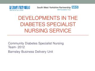 DEVELOPMENTS IN THE DIABETES SPECIALIST NURSING SERVICE