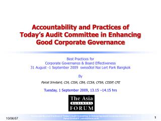 Accountability and Practices of  Today s Audit Committee in Enhancing Good Corporate Governance