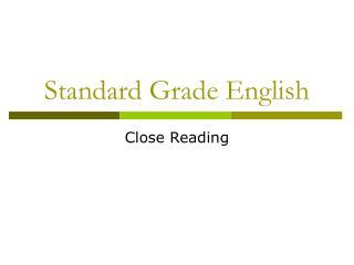 Standard Grade English