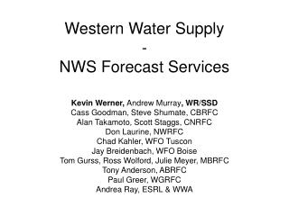 Western Water Supply - NWS Forecast Services