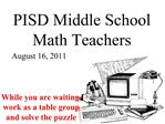 PISD Middle School Math Teachers