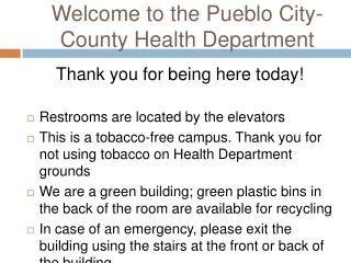 Welcome to the Pueblo City-County Health Department