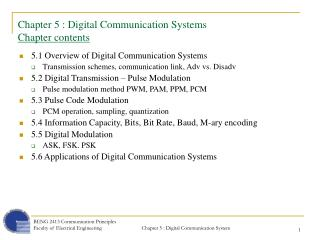 Chapter 5 : Digital Communication Systems Chapter contents