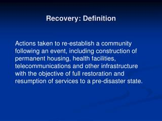 Recovery: Definition