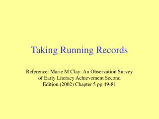 Taking Running Records