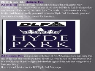 Mullanpur Plots, DLF Hyde Park Chandigarh- 91-8130491122