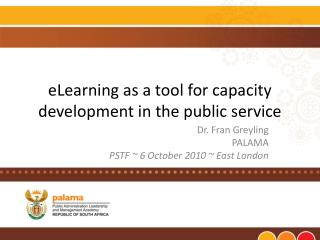ELearning as a tool for capacity development in the public service