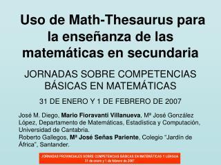 Uso de Math-Thesaurus para la ense anza de las matem ticas en secundaria