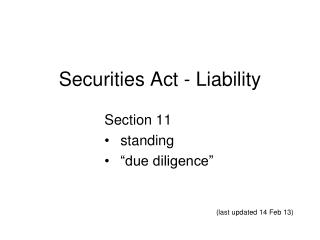 Securities Act - Liability