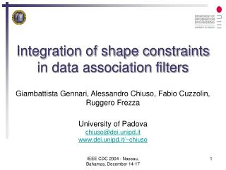 on of shape constraints in data association filters