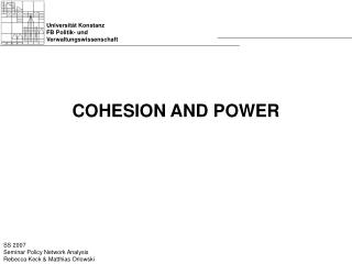 COHESION AND POWER