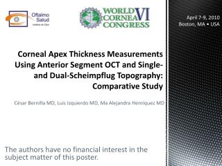 Corneal Apex Thickness Measurements Using Anterior Segment OCT and Single- and Dual-Scheimpflug Topography: Comparative