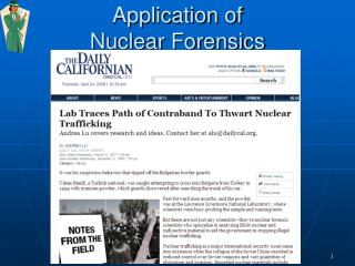 Application of  Nuclear Forensics