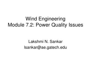 Wind Engineering Module 7.2: Power Quality Issues