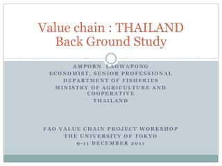 Value chain : THAILAND Back Ground Study