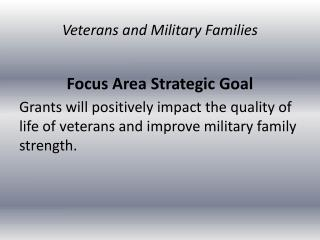 Focus Area Strategic Goal