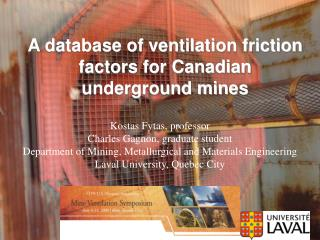 A database of ventilation friction factors for Canadian underground mines
