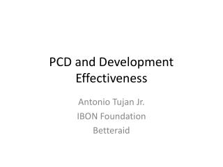 PCD and Development Effectiveness