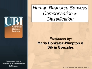 Human Resource Services Compensation  Classification