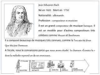 Jean-S bastien Bach N  en 1685   Mort en  1750  Nationalit  : allemande Profession : compositeur et musicien Il est un g