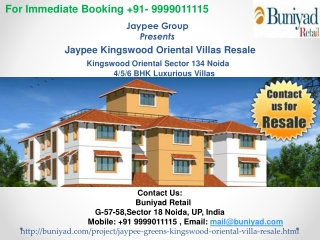 Jaypee Kingswood Oriental Villas Resale @ 9999011115