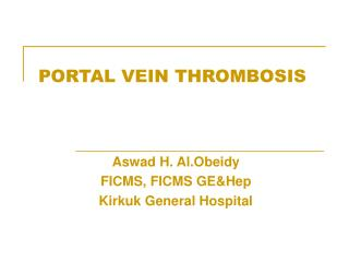 PORTAL VEIN THROMBOSIS