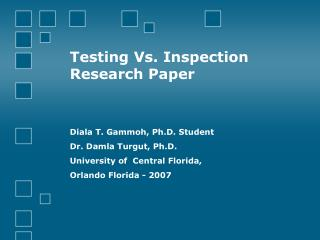 Testing Vs. Inspection  Research Paper