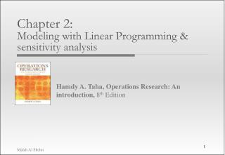 Chapter 2:  Modeling with Linear Programming  sensitivity analysis