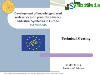 Development of knowledge-based web services to promote advance Industrial Symbiosis in Europe eSYMBIOSIS