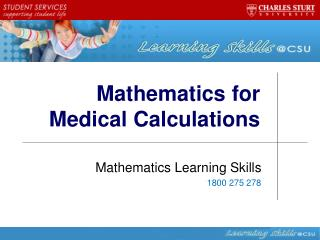 Mathematics for Medical Calculations