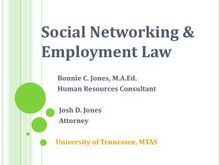 Social Networking  Employment Law