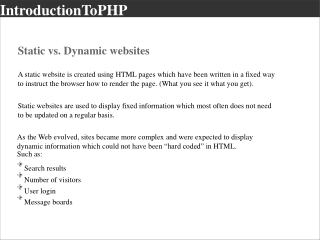 3 Tier Web Development and an introduction to PHP