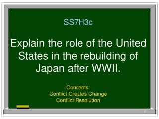 SS7H3c  Explain the role of the United States in the rebuilding of Japan after WWII.
