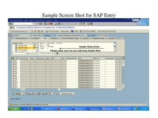 Sample Screen Shot for SAP Entry