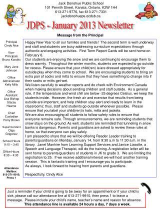 Jack Donohue Public School 101 Penrith Street, Kanata, Ontario, K2W 1H4 613-271-9776, fax 613-271-7331 jackdonohueps.ocd