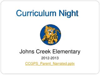 Johns Creek Elementary 2012-2013 CCGPS_Parent_Narratedx