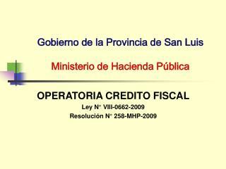 Gobierno de la Provincia de San Luis   Ministerio de Hacienda P blica