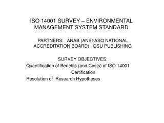 ISO 14001 SURVEY   ENVIRONMENTAL MANAGEMENT SYSTEM STANDARD