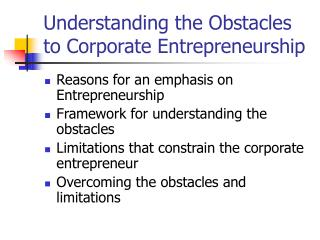 Understanding the Obstacles to Corporate Entrepreneurship